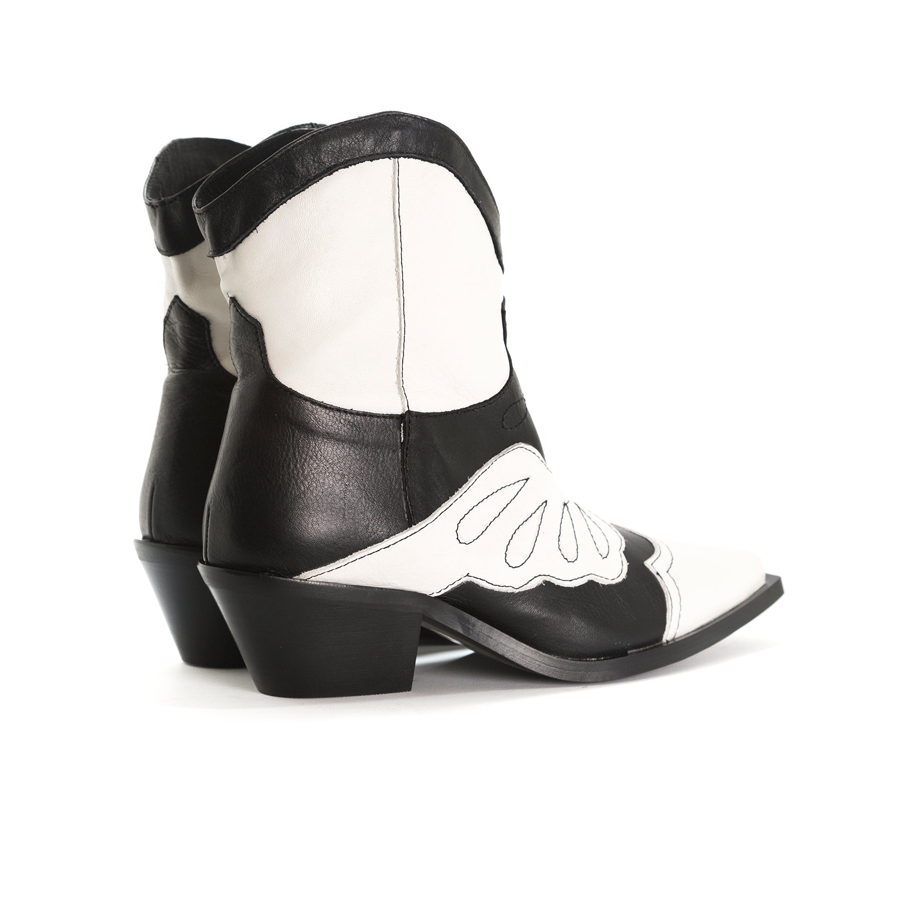 Maryland Black&White Leather Ankle Boots