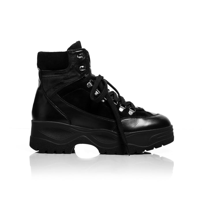 Megz Black Leather Sneakers