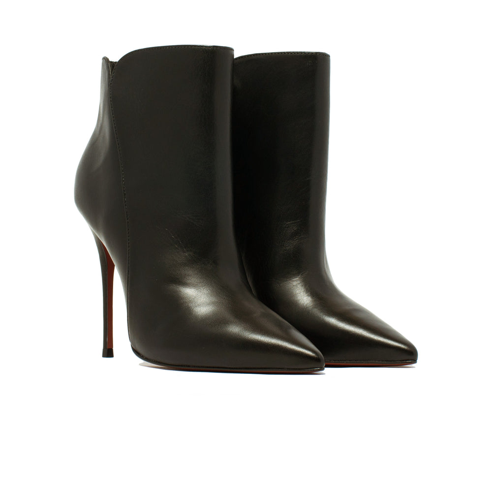 Mia Black Leather Ankle Boots