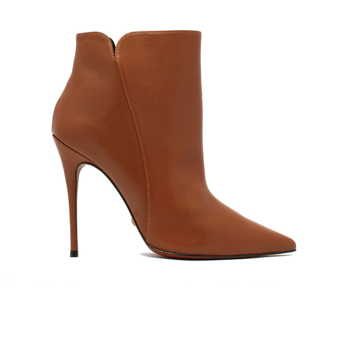 Mia Caramel Leather Ankle Boots