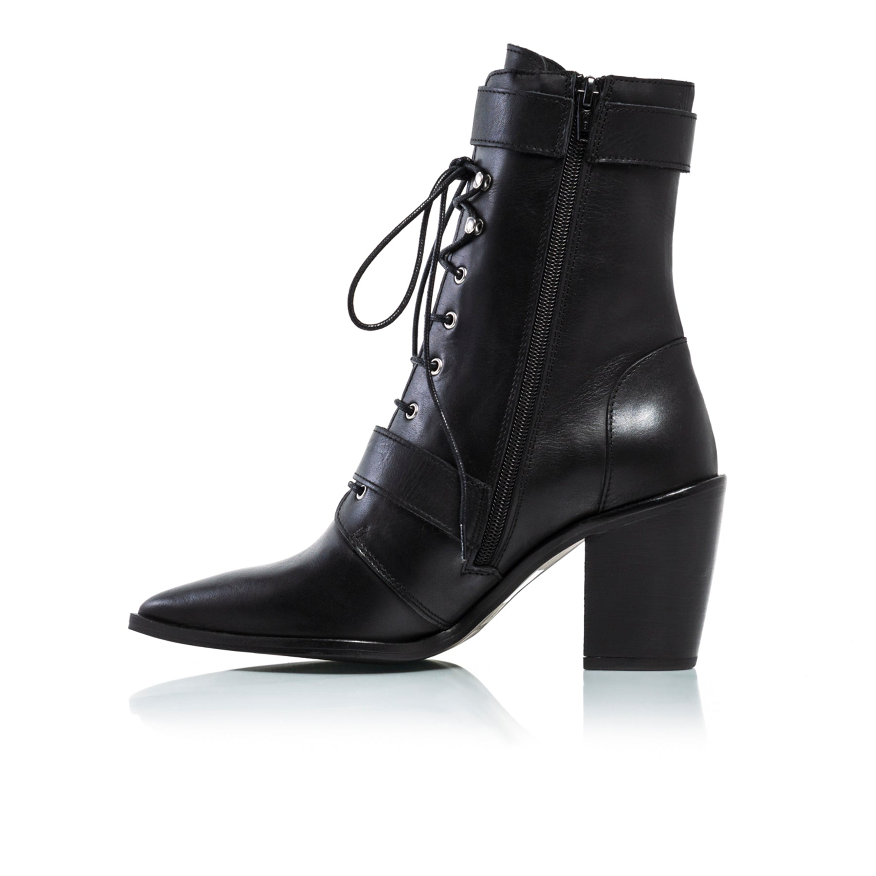 Mikaela Black Leather Ankle Boots