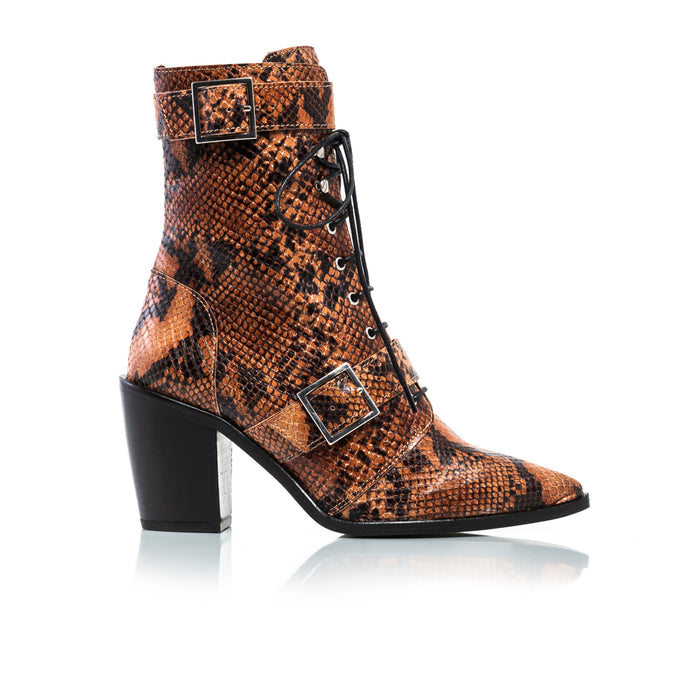 Mikaela Tan Snake Ankle Boots
