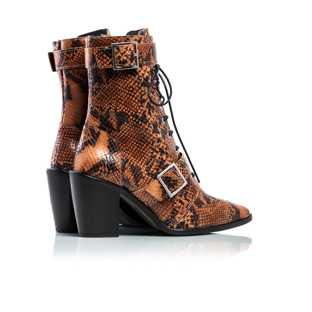 Load image into Gallery viewer, Mikaela Tan Snake Ankle Boots