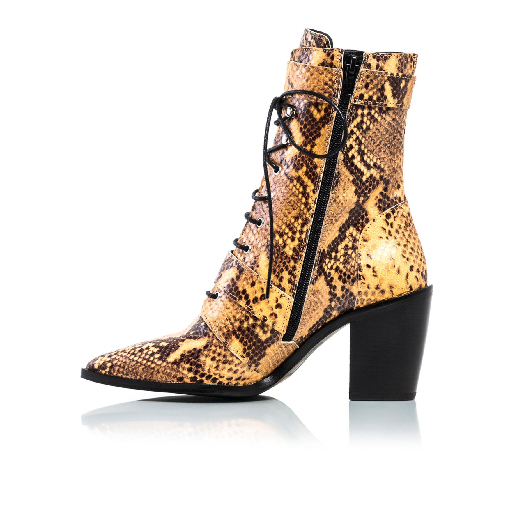 Mikaela Mustard Snake Ankle Boots