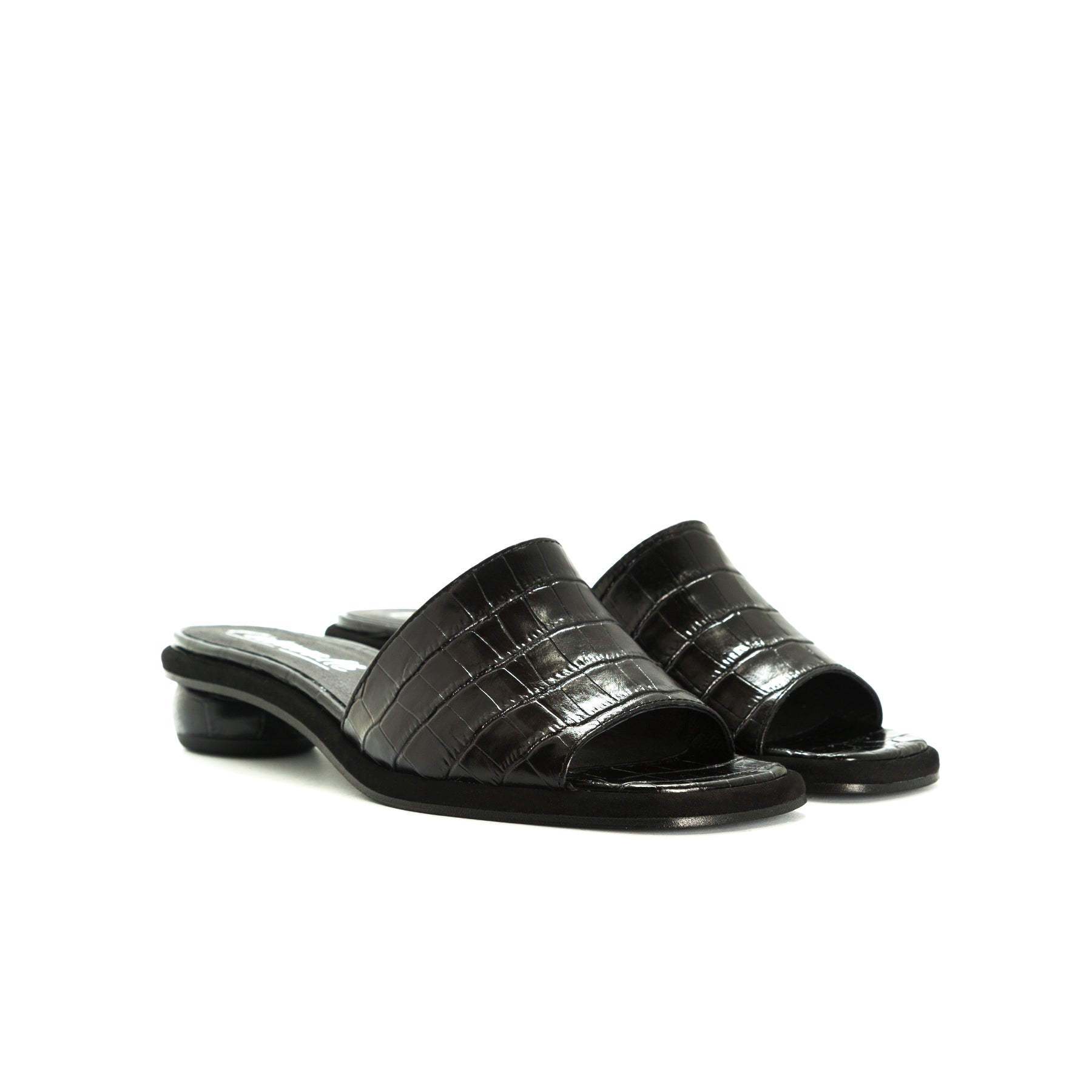 Missy Black Croco Sandals