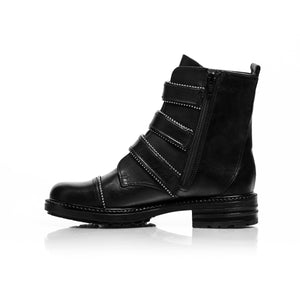 Load image into Gallery viewer, Moto Black Leather Ankle Boots