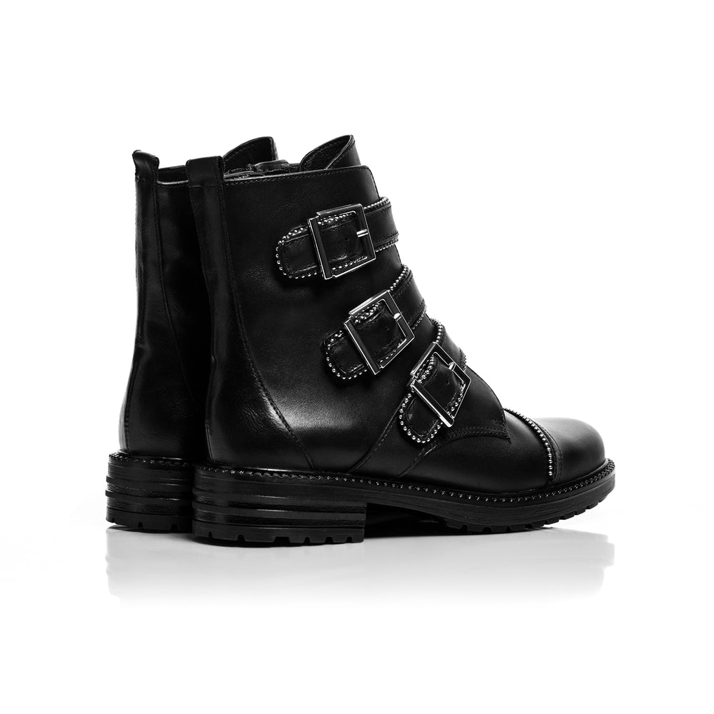 Moto Black Leather Ankle Boots