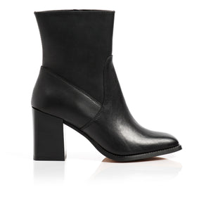 Nadine Black Leather Ankle Boots