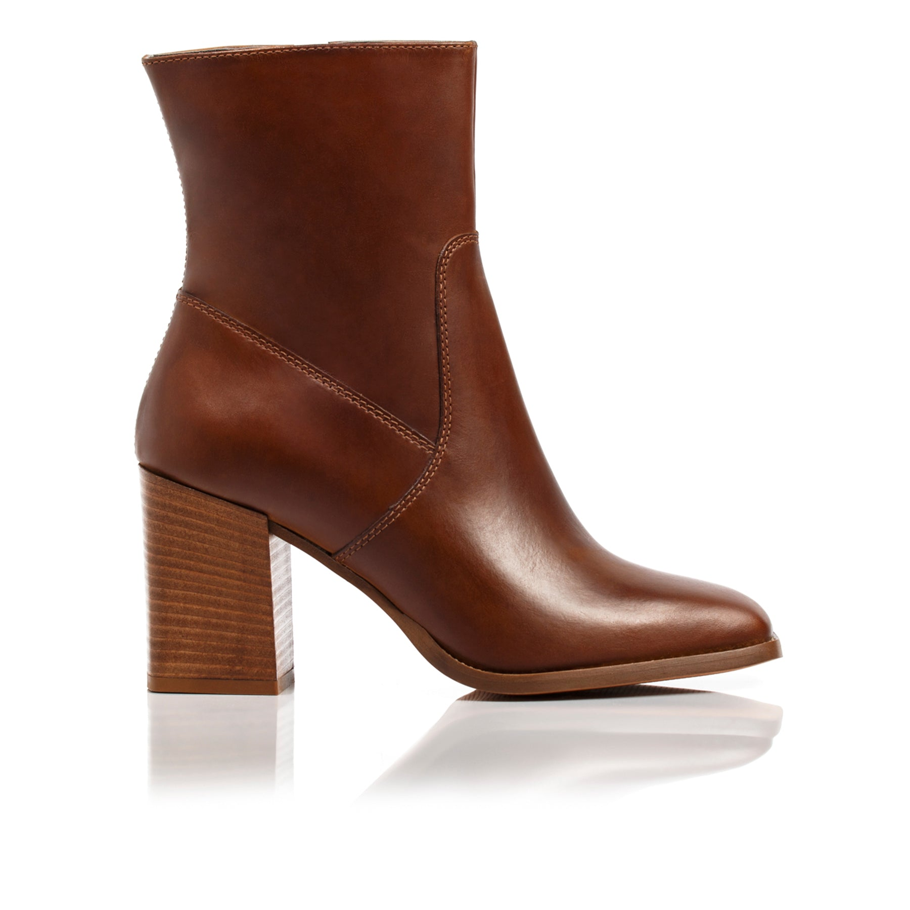 Nadine Tan Leather Ankle Boots