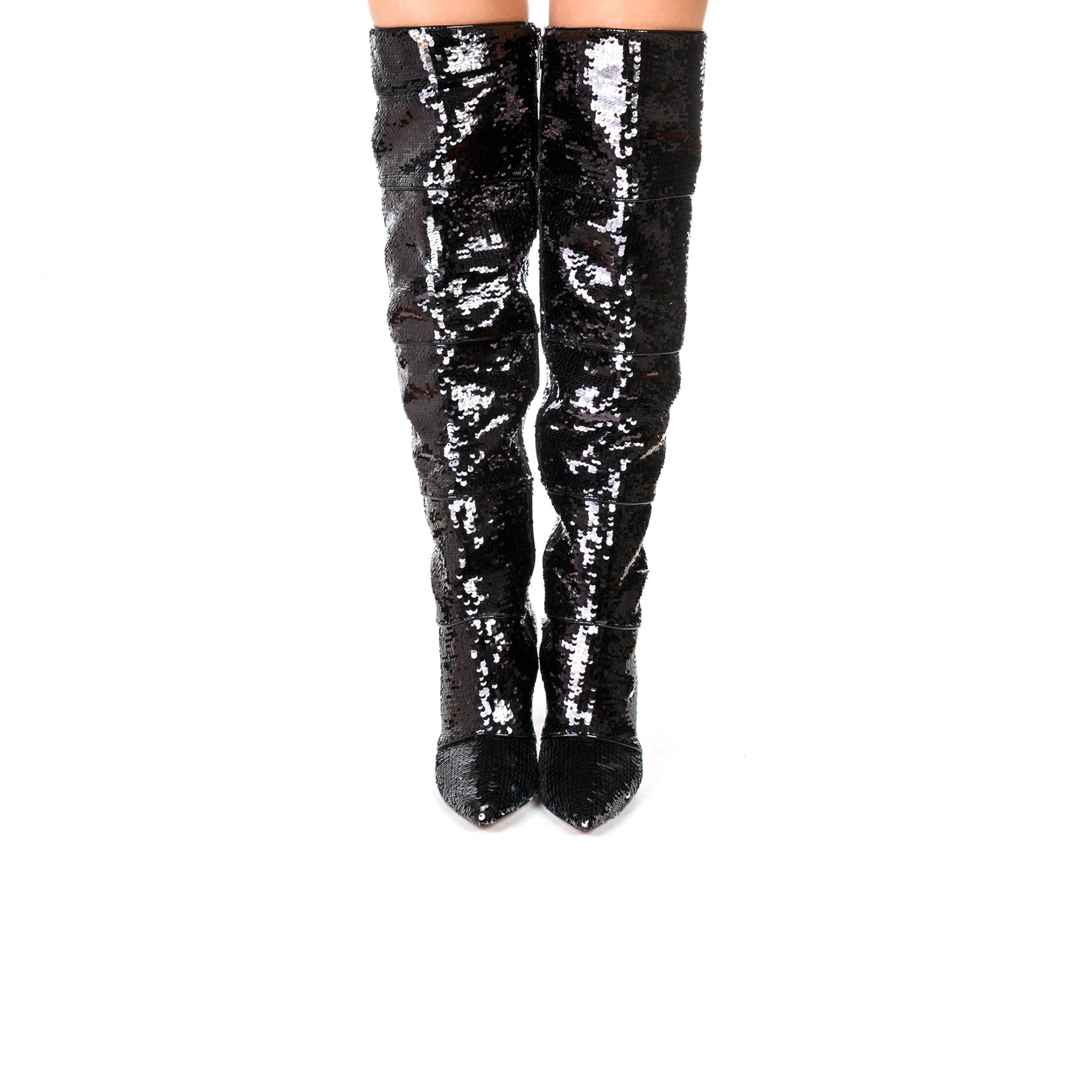 Natty Black Sequins Boots