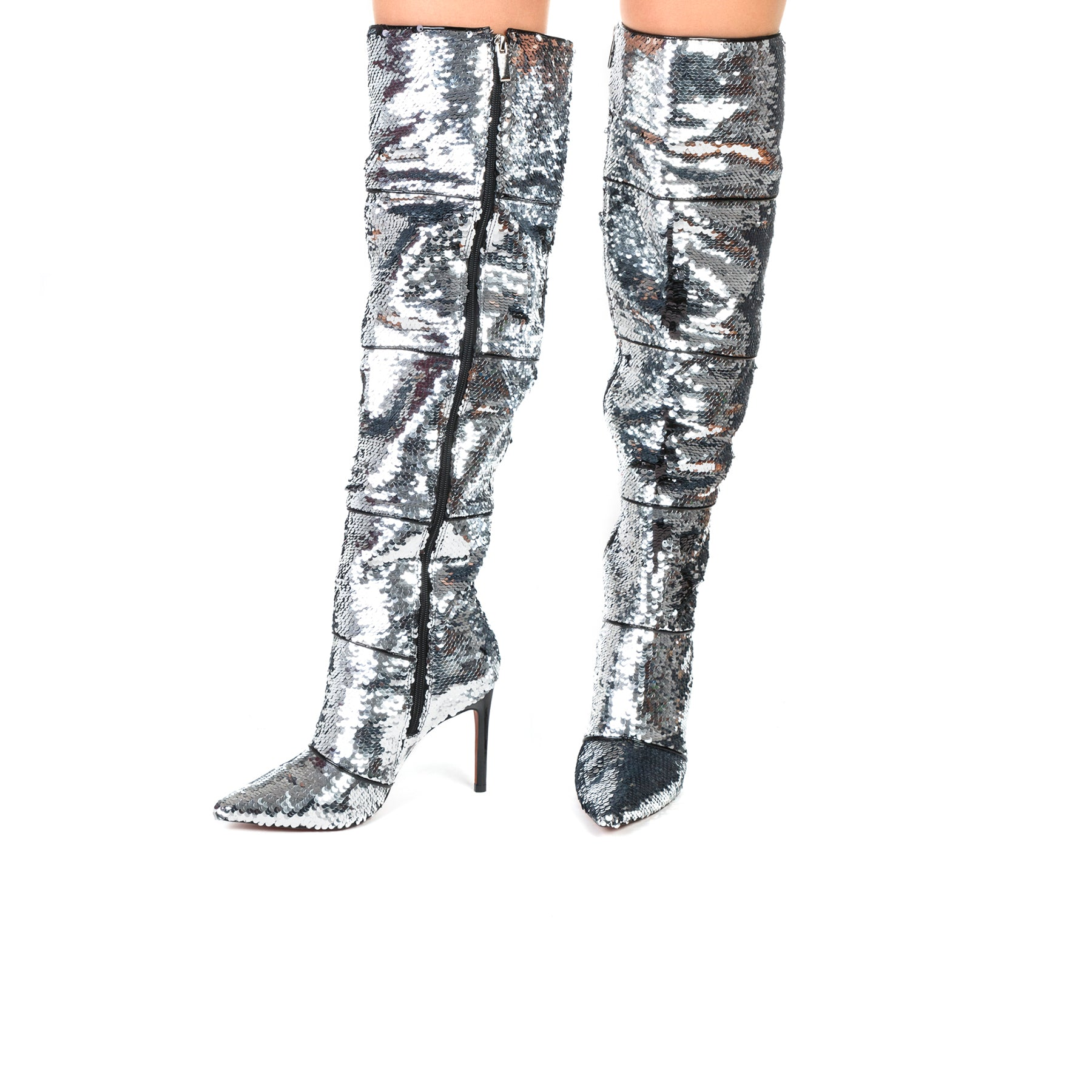 Natty Silver Sequins Boots