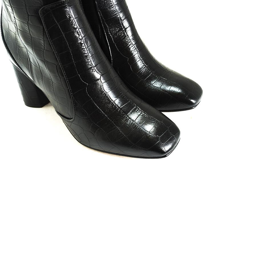 Nemorti Black Croco Leather Boots