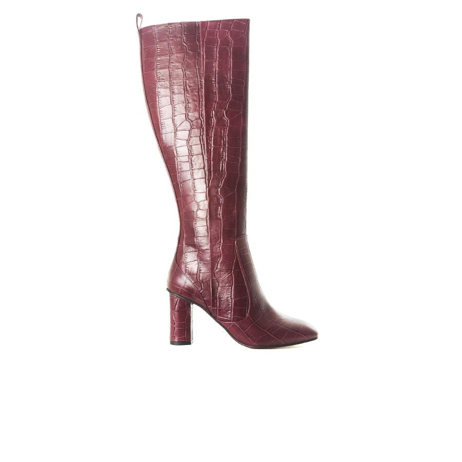 Nemorti Bordo Croco Leather Boots