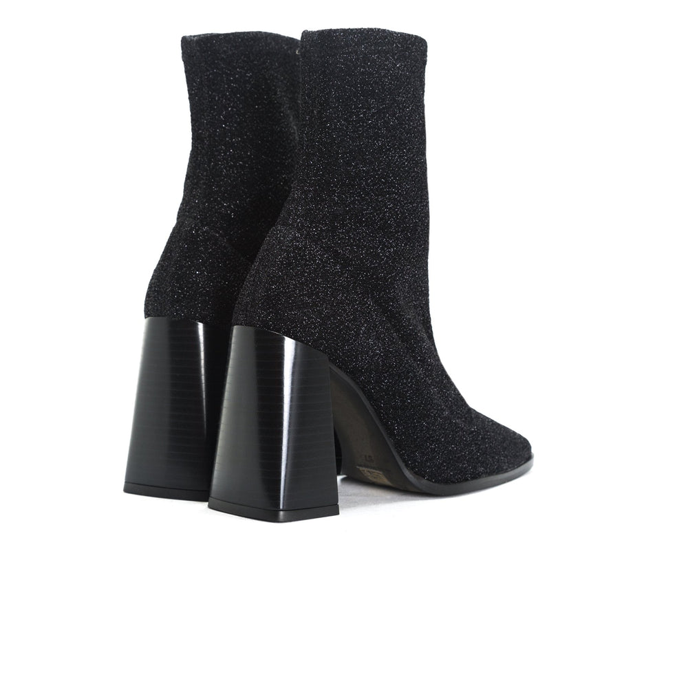 Nikiti Black Stretch Ankle Boots