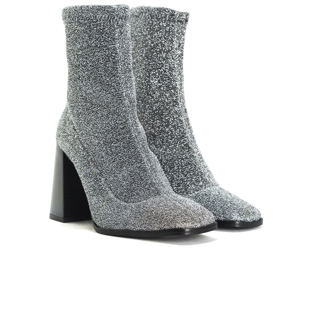 Nikiti Silver Stretch Ankle Boots