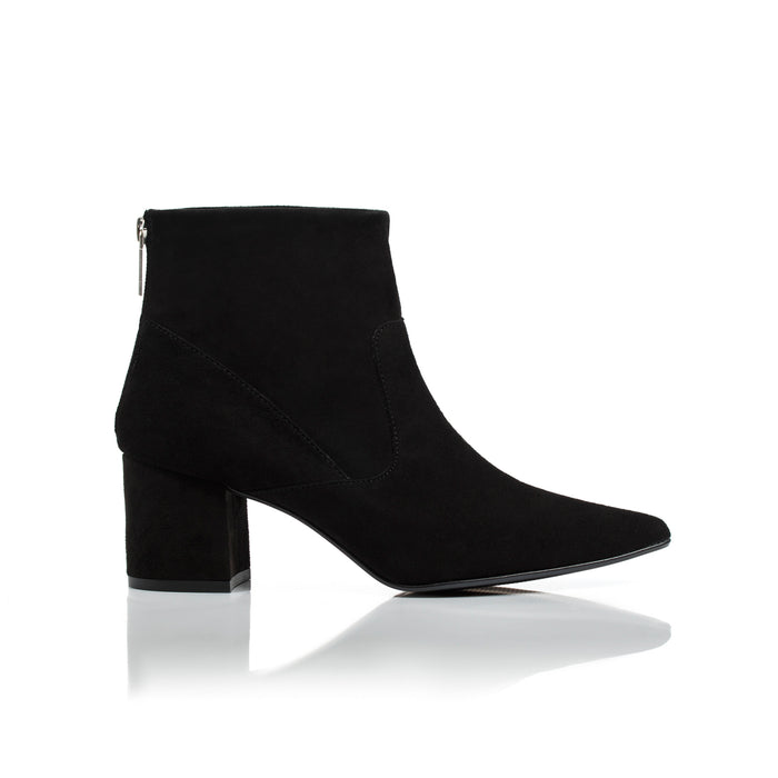 Noelle Black Suede Ankle Boots