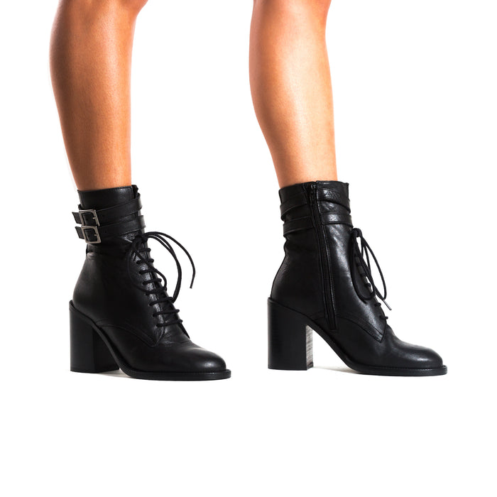 Pula Black Leather Ankle Boots