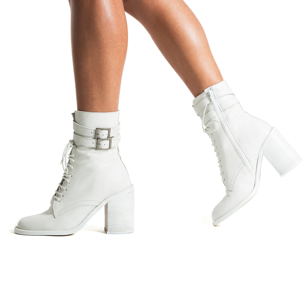 Pula White Leather Ankle Boots