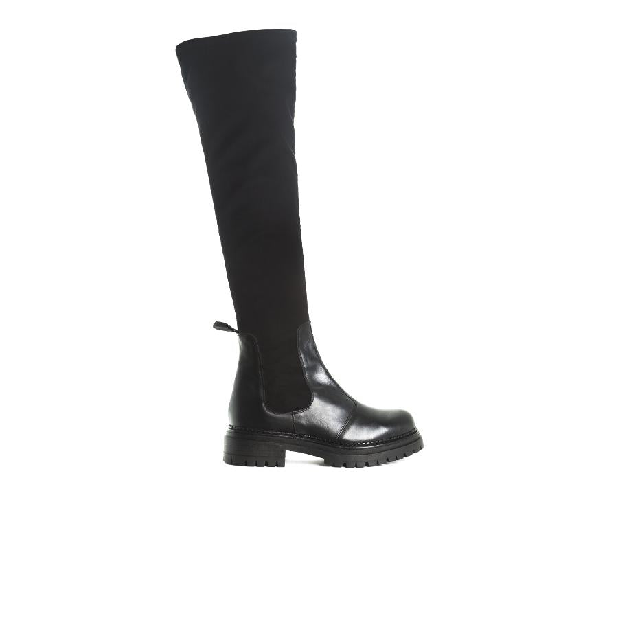 Rana Black Leather/Stretch Boots