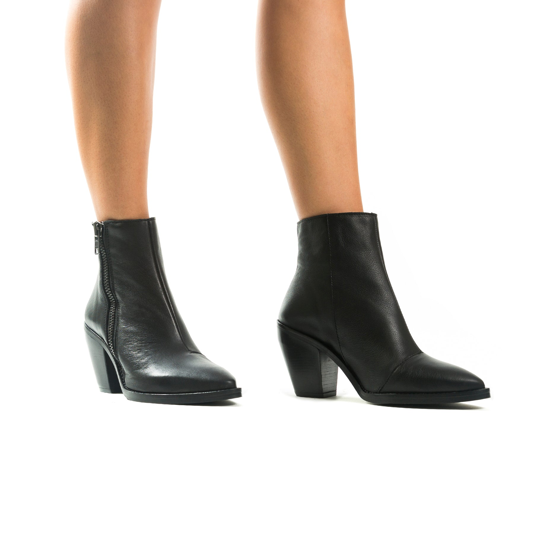 Rodeo Black Leather Ankle Boots
