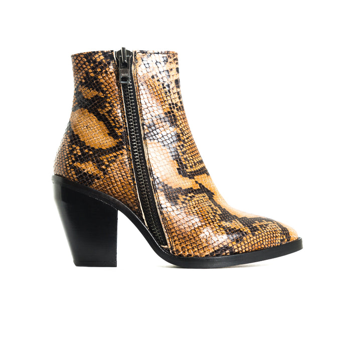 Rodeo Tan Snake Ankle Boots
