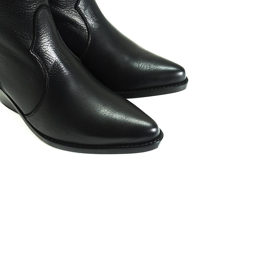 Roky Black Leather Boots