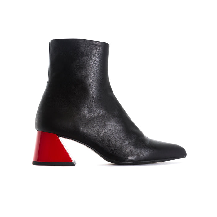 Salonika Black Leather Ankle Boots