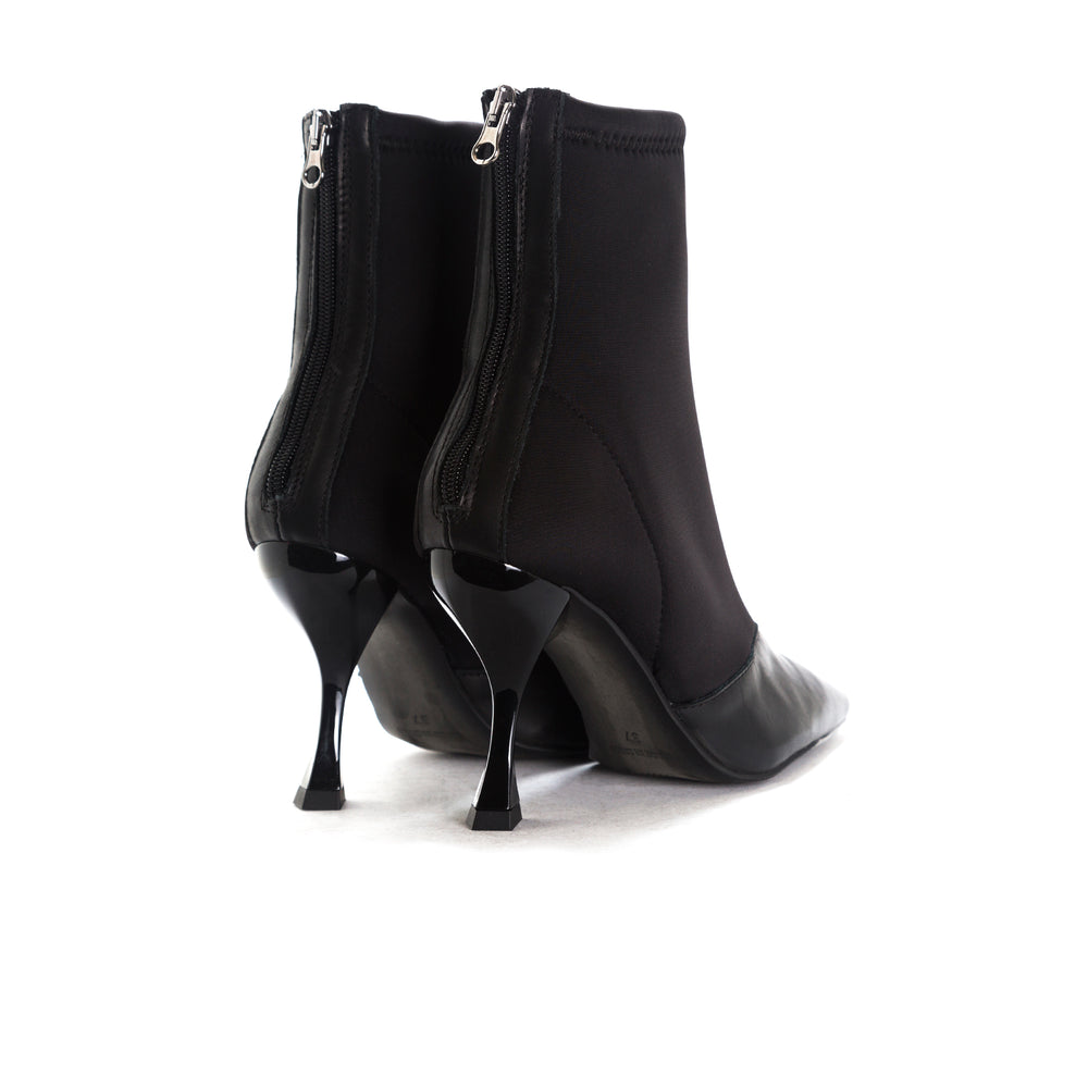 Sarti Black Leather/Neoprene Ankle Boots
