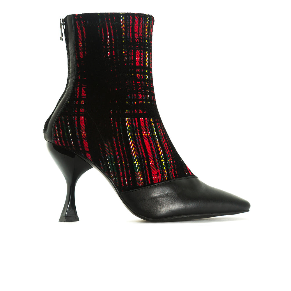 Sarti Red Tartan Ankle Boots