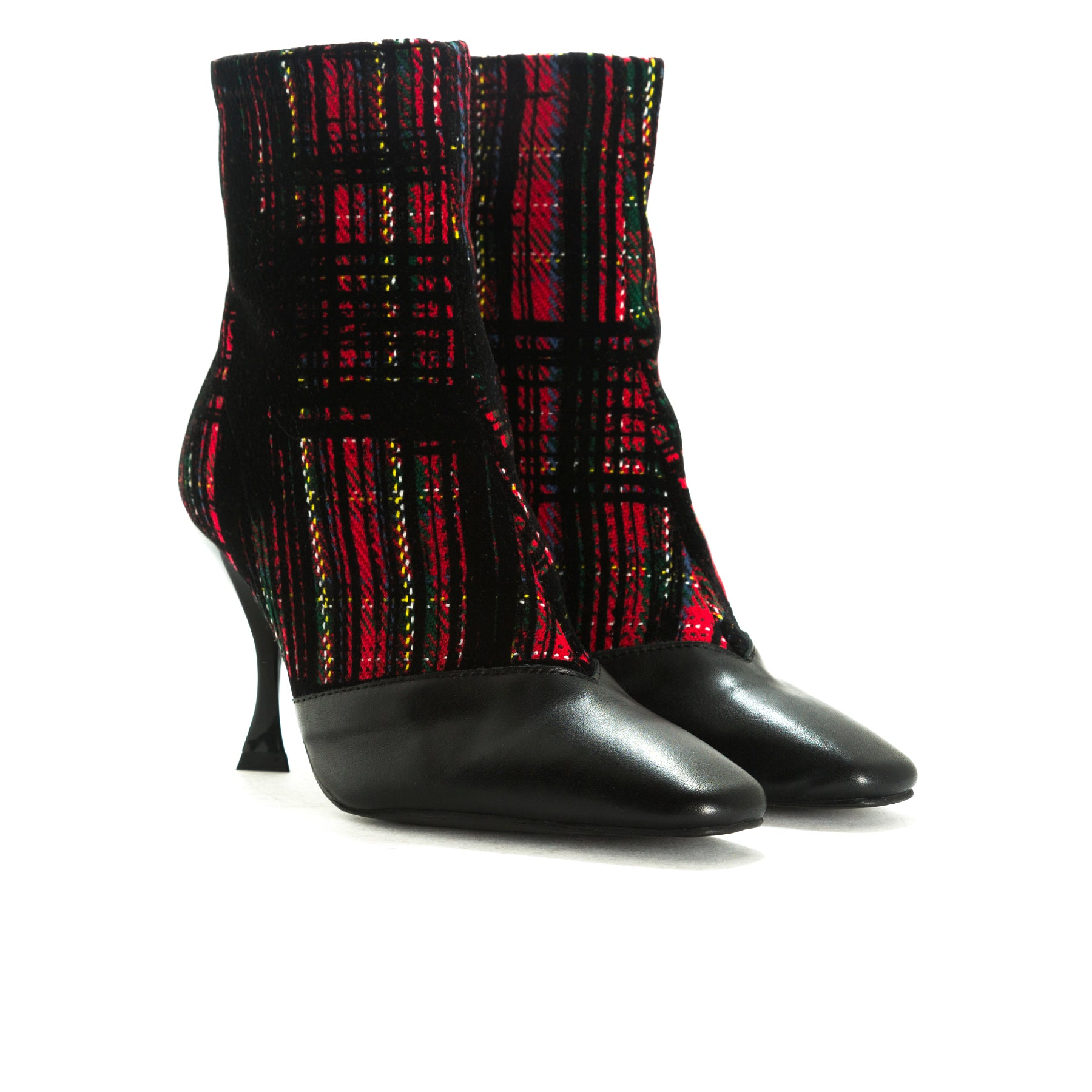 Sarti Black Leather/Red Tartan Ankle Boots