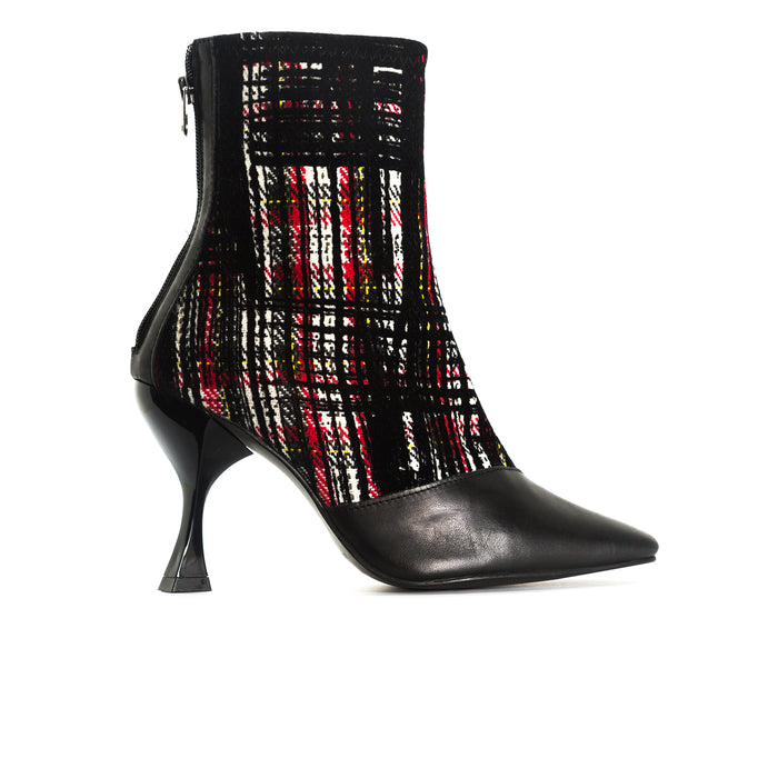 Sarti Black Leather/White Tartan Ankle Boots