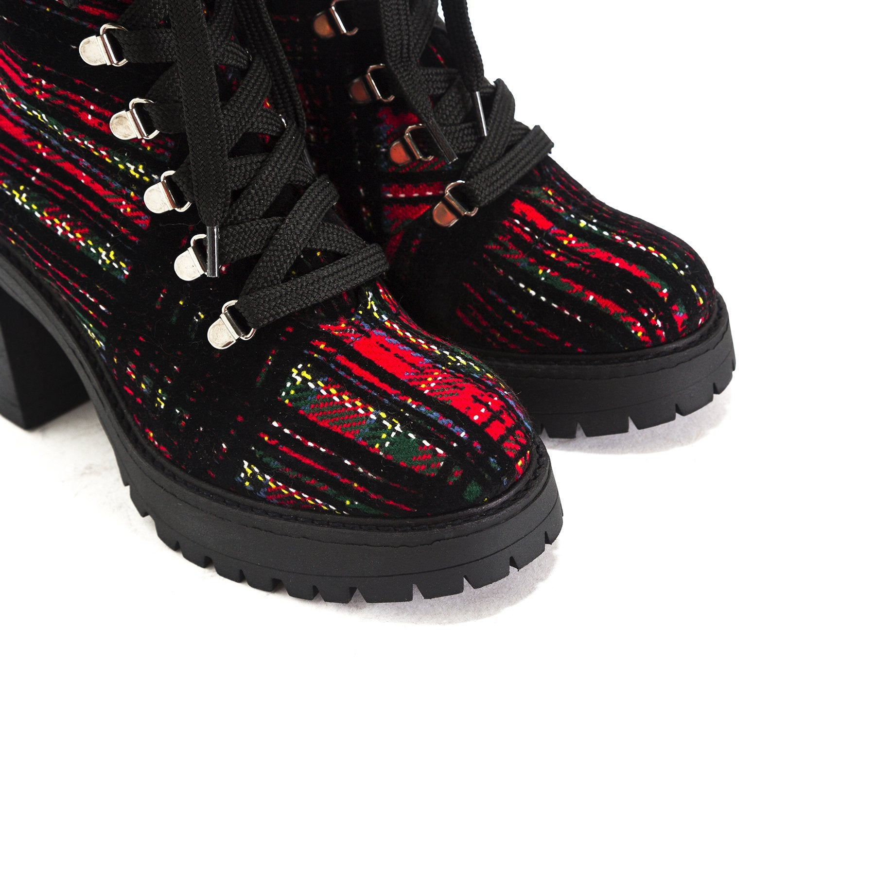 Sickla Red Tartan Platforms