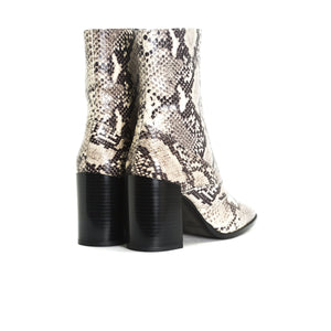 Split Natural Snake Ankle Boots