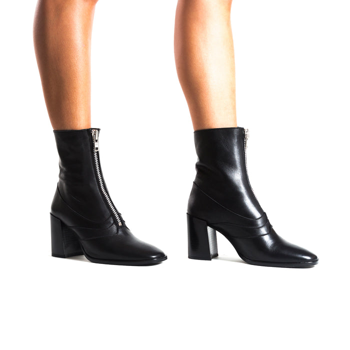 Splitt Black Leather Ankle Boots