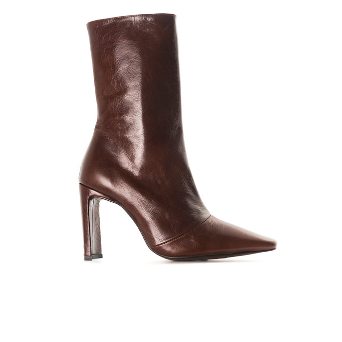 Stavi Brown Leather Ankle Boots