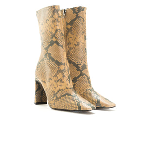 Load image into Gallery viewer, Stavi Nude Snake Ankle Boots