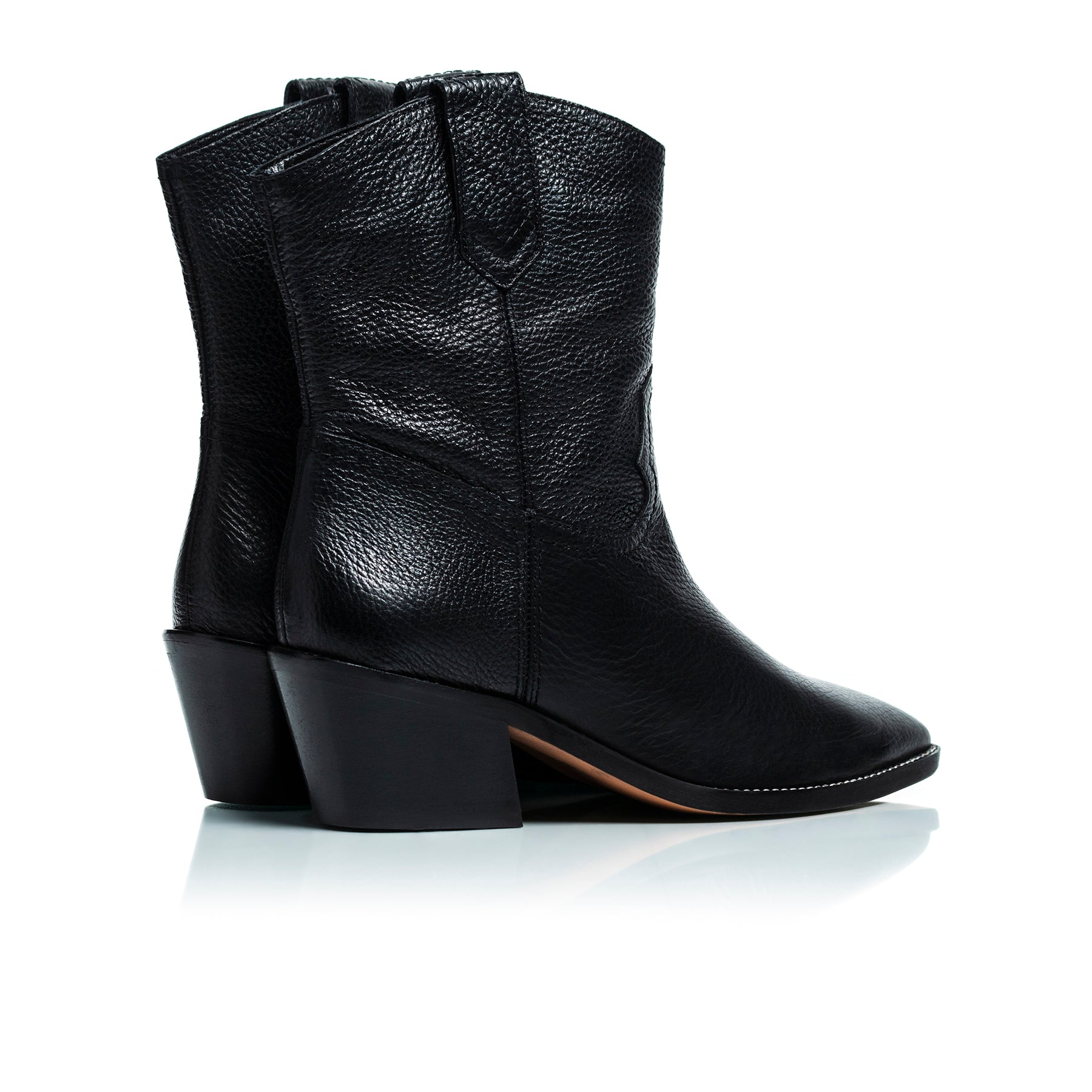 Texas Black Leather Ankle Boots