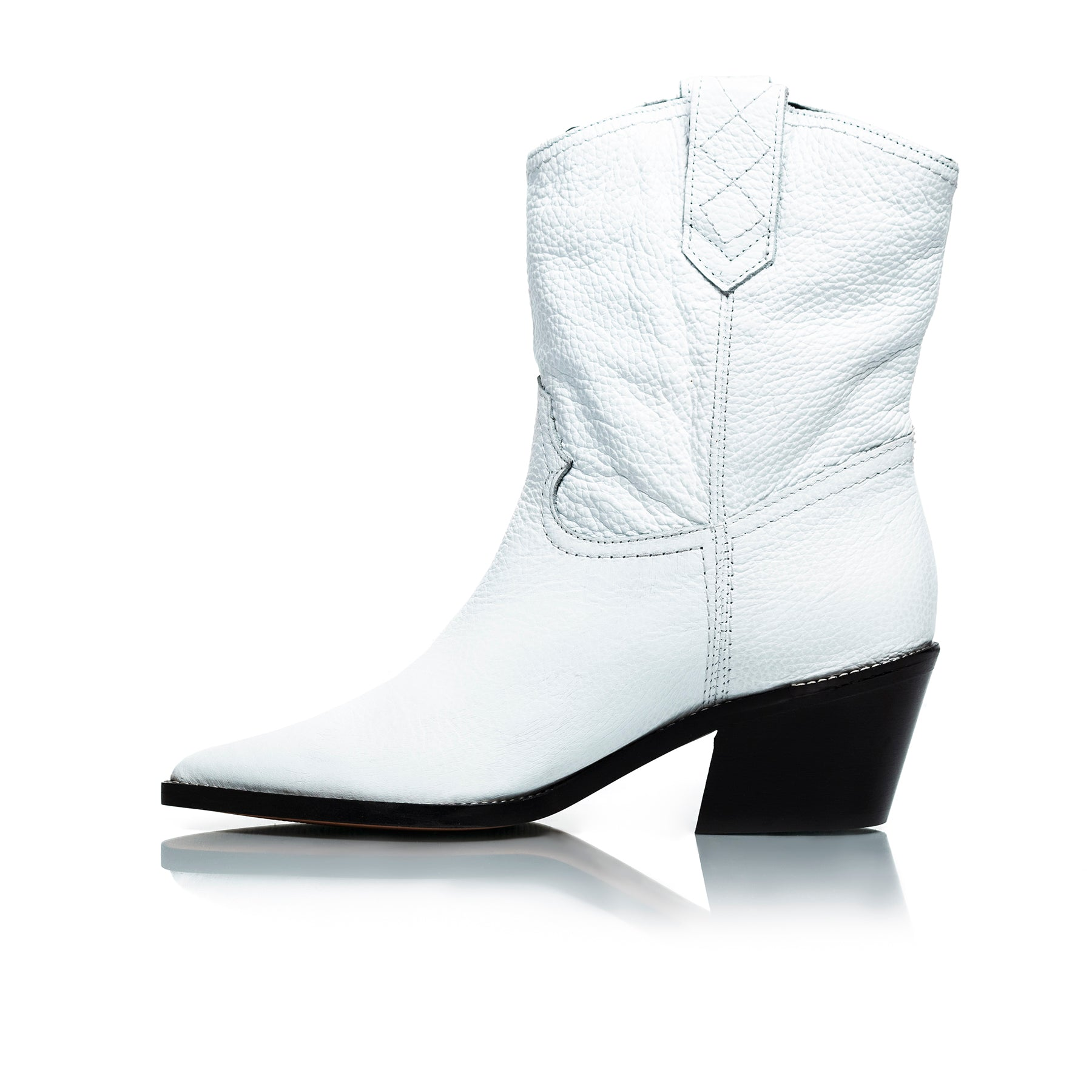 Texas White Leather Ankle Boots