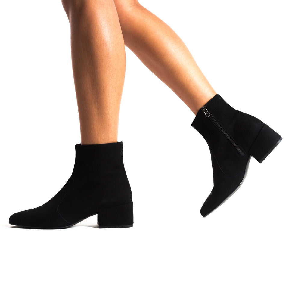 Load image into Gallery viewer, Thassos Black Suede Ankle Boots