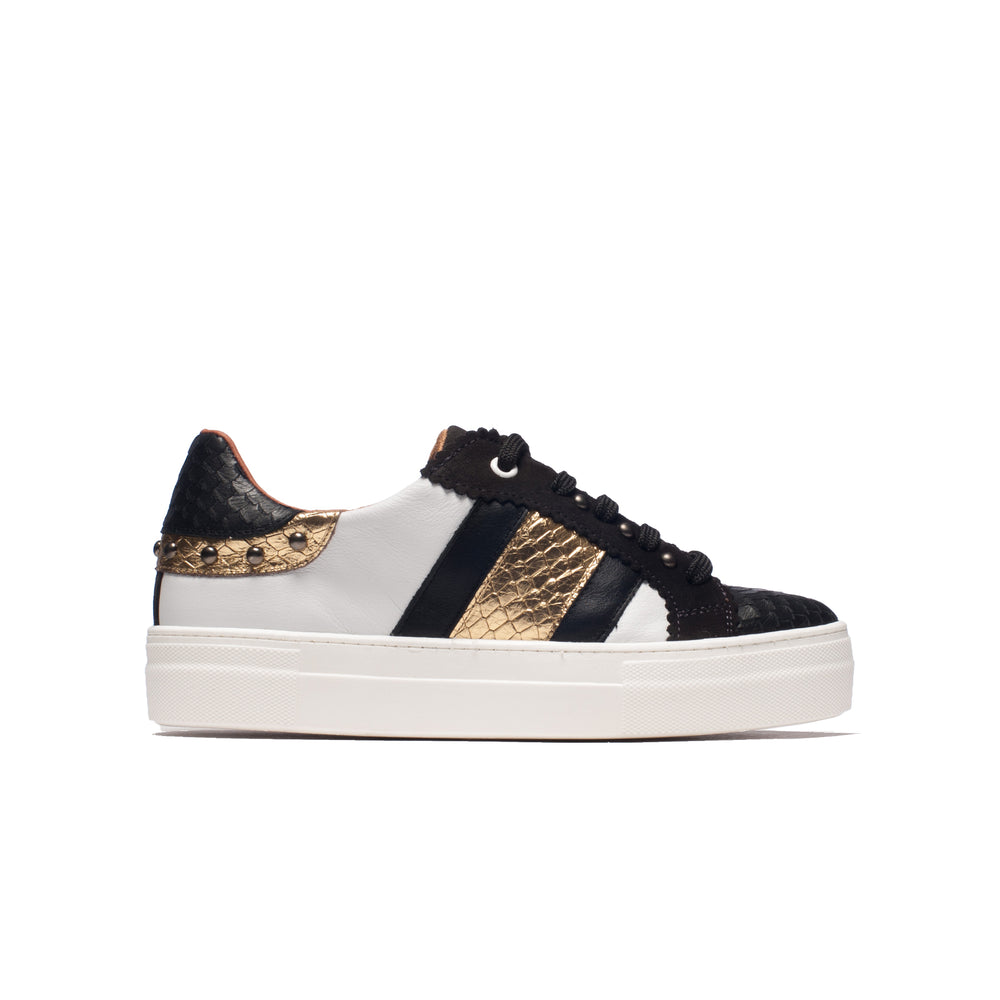 Gyoza White/Black/Gold Leather
