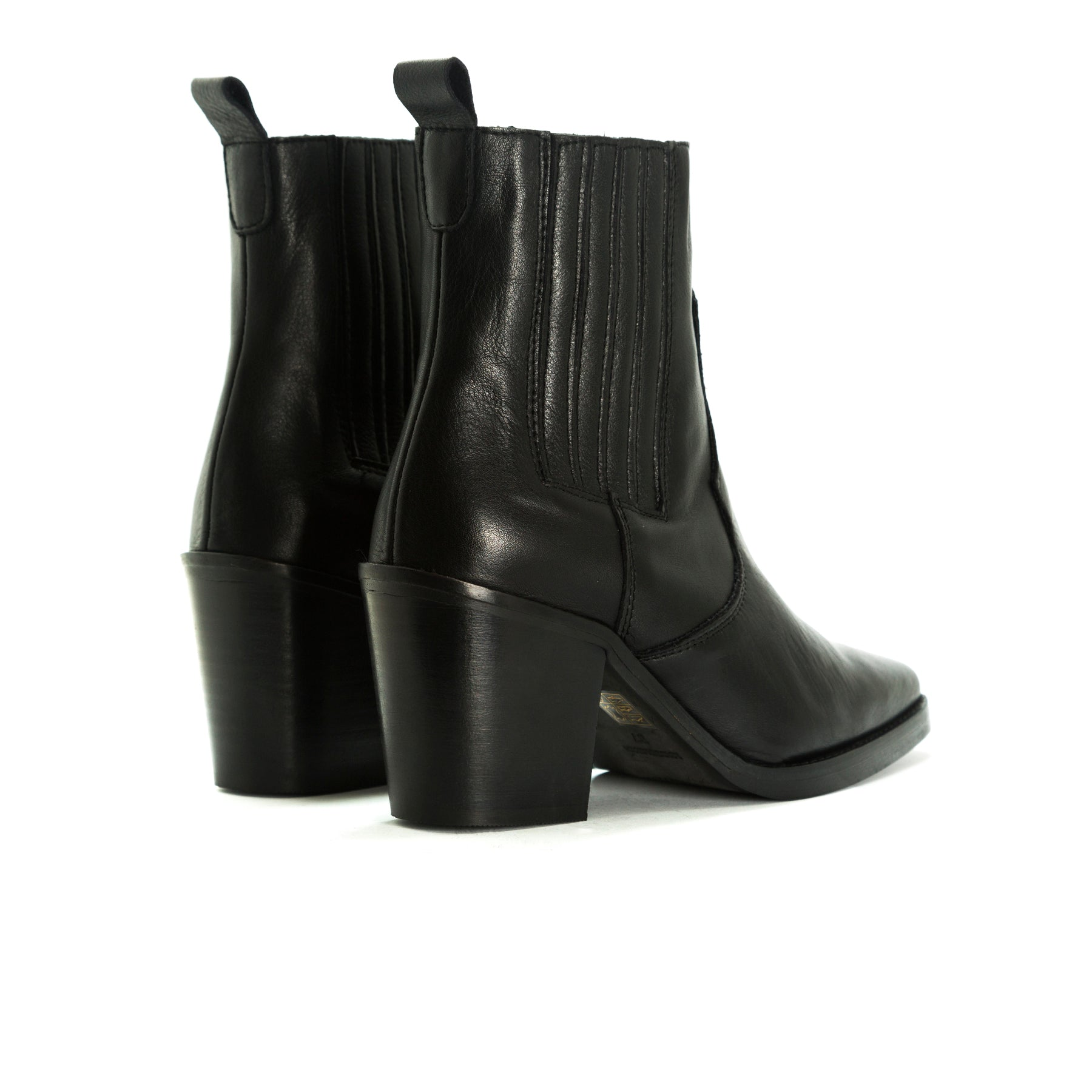 Valentina Black Leather Ankle Boots