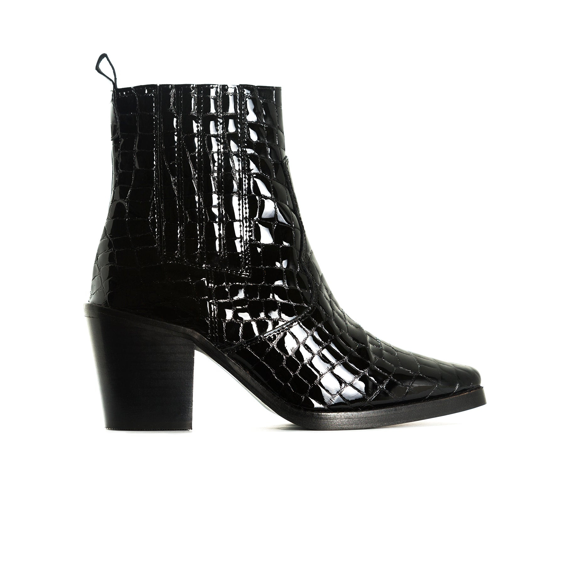 Valentina Black Croco Ankle Boots