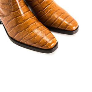 Valentina Tan Croco Ankle Boots