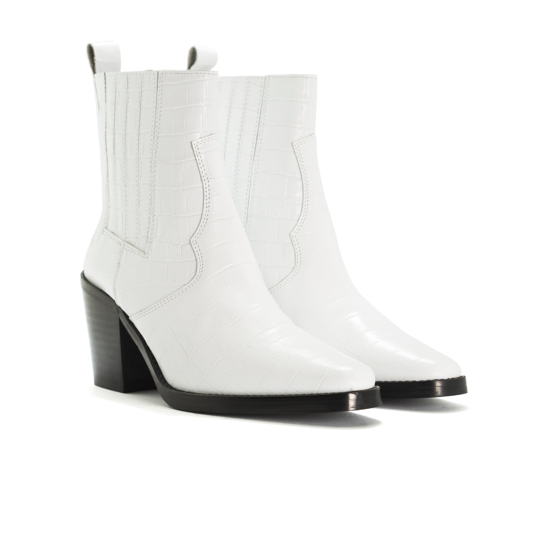 Valentina White Croco Ankle Boots