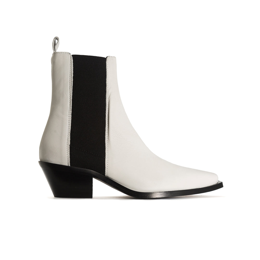 Virginia White Leather Ankle Boots