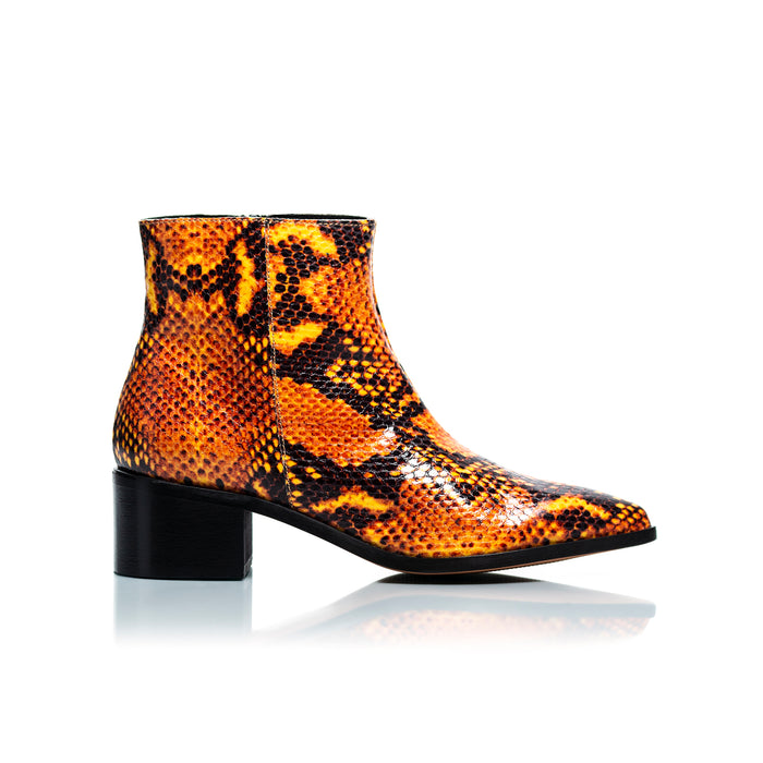 Woodstock Orange Snake Leather Ankle Boots
