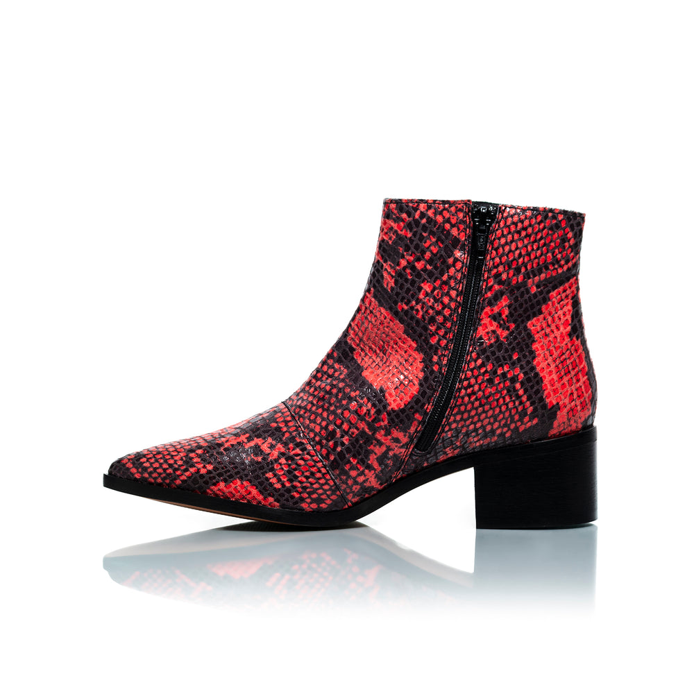Woodstock Red Snake Leather Ankle Boots