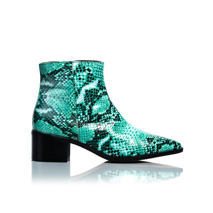 Woodstock Turquoise Snake Leather Ankle Boots