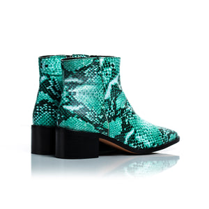 Woodstock Green Snake Leather Ankle Boots