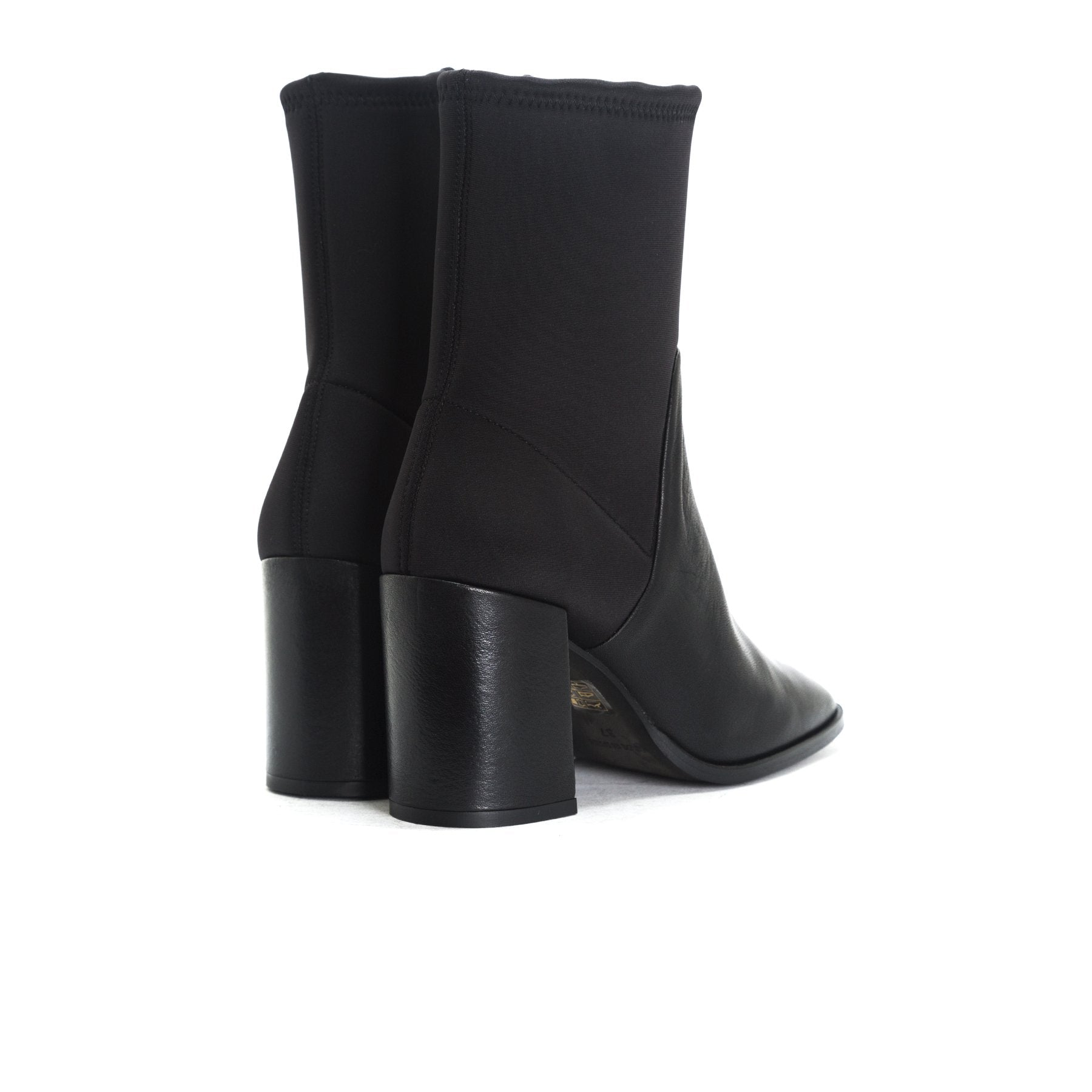 Zadar Black Leather/Neoprene Ankle Boots